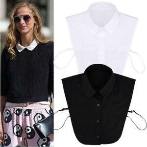 Ladies Girl Cotton Lace Fake Solid Shirt Blouse Hollow White Collar Detachable