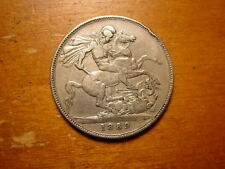 LOVELY BRITISH STERLING SILVER CROWN COIN  QUEEN VICTORIA 1889
