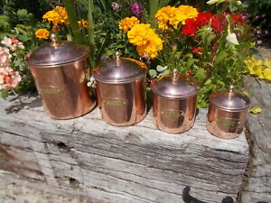 Lovely Set 4 French Vintage Copper Lined Kitchen Storage Canisters YR1/3