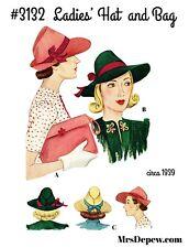 Vintage Sewing Pattern 1930s Hat & Bag #3132 Purse Paper Version Wwii 1939