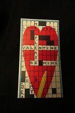 Vintage CROSSWORD PUZZLE Valentine card c. 1960s