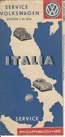 VW-Dienst Service Karte Map Italien Italia 1954 VW Brezel Ovali Porsche 356
