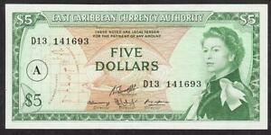 EAST CARIBBEAN CURRENCY AUTHORITY FIVE DOLLAR BANKNOTE 1965 EF+