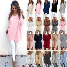 Damen Pulli Sweatshirt Pullover Sweater Mode Oberteile Tops Longtop Pullikleid