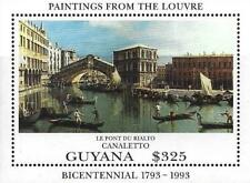 GUYANA 1993 PAINTINGS / LOUVRE MUSEUM = FRANCE S/S MNH CANALETTO, VENICE BRIDGES
