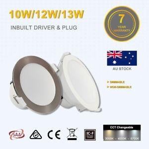 10W/12W/13W Led Downlight Kit CCT 90mm Cutout White/Satin Chrome Dim/Non Dim RCM