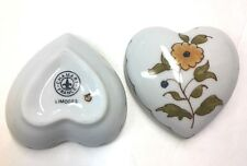 "Chamart Limoges France""Moustier"" ; Heart Shaped Trinket Box w/Yellow Flower Theme"