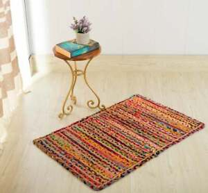 9x12 feet square hand braided bohemian colorful cotton chindi rug home decor rug