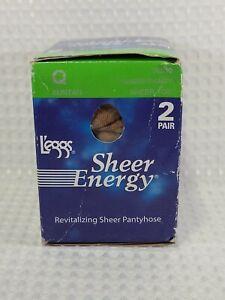 L'eggs Sheer Energy Medium Support Leg 2 Pair Size Q Suntan Color 30830