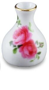 Reutter Porcelain Dollhouse Miniature Hand Painted Rose On White Porcelain  Vase