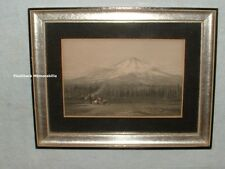 Antique AMERICAN INDIAN Color Tinted PHOTO PRINT Mountain TEEPEE Western FRAMED