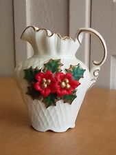 Vintage Porcelain Miniature Pitcher ~Hand Painted Holly Leaf Poinsetta Flower~