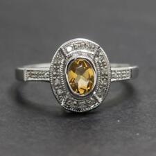 Genuine .84ctw Citrine & Diamond .925 Sterling Silver Ring Size 6.25