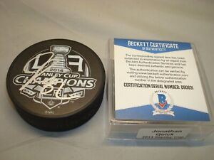 Jonathan Quick Signed Kings 2014 Stanley Cup Champs Hockey Puck Beckett COA 1A