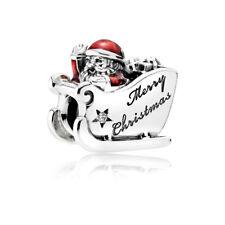 Pandora Genuine ALE S925 Silver Christmas Sleighing Santa Charm 792004CZ