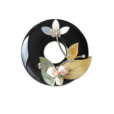 HANABE KOREA Handmade Onyx Mother of Pearl Flower Classic Ornate Brooch Pin