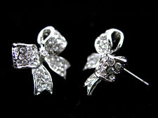 Twinkling White Bow Studs Austria Crystal 18K White Gold-Plated Earrings