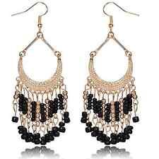 Womens Vintage Bohemian Black Beads Fringe Drop Dangle Hookie Hook Long Earrings