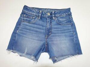 American Eagle Womens Hi Rise Shortie Denim Shorts Size 2 Super Stretch AE Denim