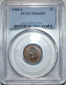 PCGS MS-64 BN 1908-S Indian Head Cent, Richly-Hued, Lustrous specimen!