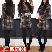 US Women Plaid Slim Blazer Suit Coat Jacket Ladies Long Sleeve Cardigan Outwear