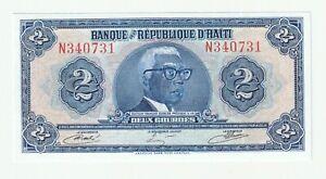 """Haiti 1979 2 P.231A Gourdes UNC """"TYVEK"""" Rare"""