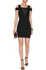 HALSTON HERITAGE Black Mesh Panel Off Shoulder Dress Celebrity Size XS NWT $345
