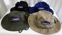 LOWE'S EMPLOYEE UNIFORM SUMMER BUCKET COTTON CAP HAT LOGO EMBROIDERED