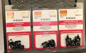 (3)Micro-Trains #00302024/021/132 4 & 6 Axle Freight Trucks 1/160 N Scale