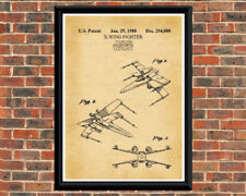Star Wars X-Wing Fighter Vintage Patent Print Art Drawing.  Star Wars Gifts