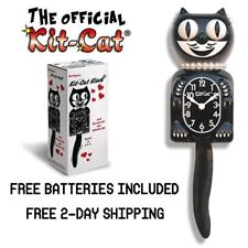 """CLASSIC LADY KIT CAT CLOCK 15.5"""" Black White NEW! Free Battery MADE IN USA!"""