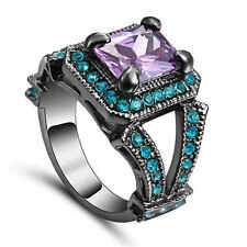 Size8 Purple Amethyst &blue CZ Wedding Ring Black Rhodium Plated Women's Jewelry