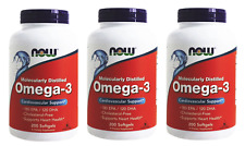 3 x 200 Softgels NOW Foods Omega-3 Fish Oil, EPA DHA, FRESH, Made In USA