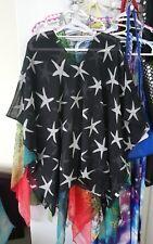 Pretty  starfish print black Kaftan poncho top one size new