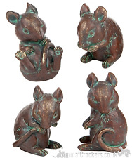 More details for set of 4 old brass effect mice ornaments decoration figurines mouse lover gift