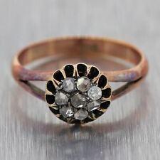 1880's Antique Victorian 10k Yellow Gold 0.20ctw Rose Cut Diamond Ring