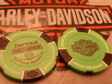 Harley Neon Green & Black  Poker Chip  Daytona, FL Harley Davidson