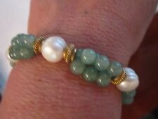 GREEN JADE AND WHITE PEARL BRACELET - EXPANDS - SEE PICS