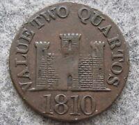 GIBRALTAR 1810 2 QUARTOS TOKEN, CASTLE, ROBERT KEELING, HIGH GRADE