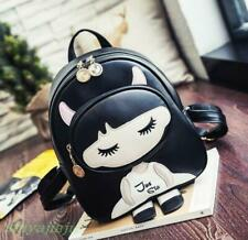 Korea Style Young Girls Cute Carton Small Backpack PU Leather Bookbags Satchel