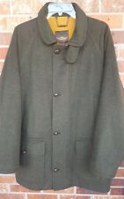 PAUL STUART Sz M Green Loden Coat Wool Alpaca Waterproof England