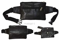 """Flat Lambskin Waist Pouch, Leather bag Small Waist pouch Fanny Pack up to 45"""" BN"""