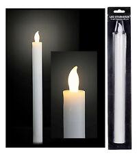 2x LED Stabkerze Timer 25cm Kerze Wachs Kunststoff weiß Tafelkerze LED-Kerze
