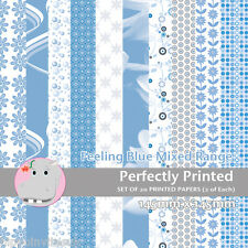 20 Patterned Paper Sq 140mm -Perfectly Printed Craft Paper - Feeling Blue