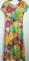 Jams World Womens Day Dress Medium Rayon Watercolor Floral Bright Colors USA