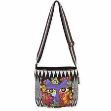 Blossoming Feline Laurel Burch Small Canvas Purse Cross-Body Tote Bag Handbag