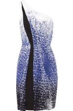 DIANE VON FURSTENBERG One Shoulder Blue Black Cream Dress Sz 4 NWT