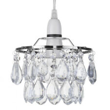 Easy Fit Crystal Effect Droplets Lampshade Light Polished Chrome New Litecraft