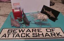 Shark Lot Stapler Pencil Sharpener Memo Metal Sign Hanger Keychain Plaque Glass