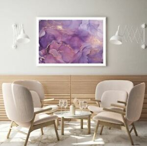 Pink Purple & Gold Abstract Print Premium Poster High Quality choose sizes